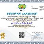 Politeknik Negeri Bengkalis (Polbeng) meraih akreditasi Baik sekali dari Badan Akreditasi Nasional Perguruan Tinggi (BAN-PT).